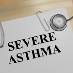 "3D illustration of ""SEVERE ASTHMA"" title on a document"
